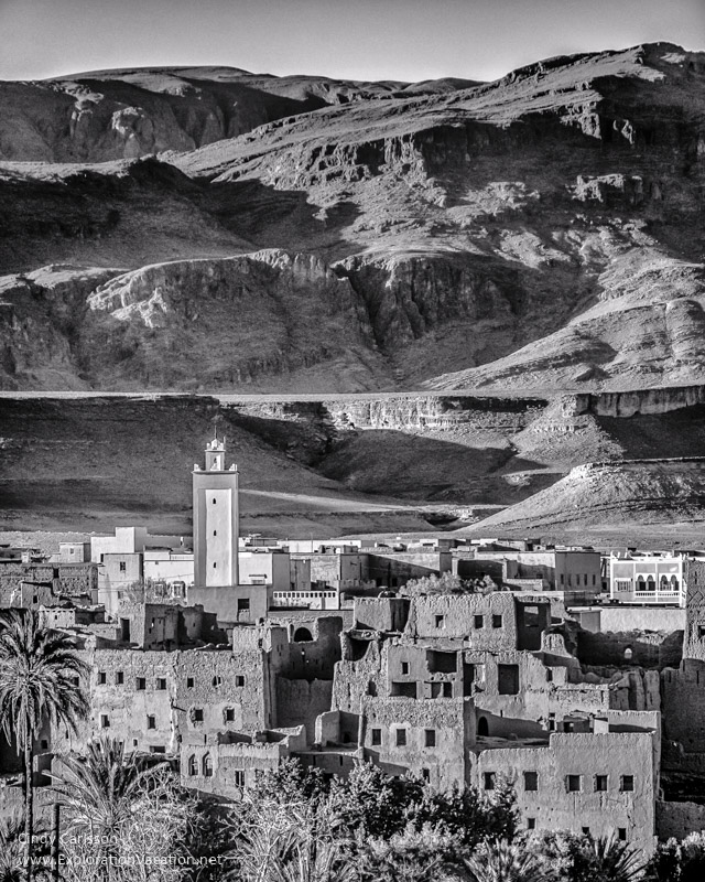 Village in Morocco below the mountains
