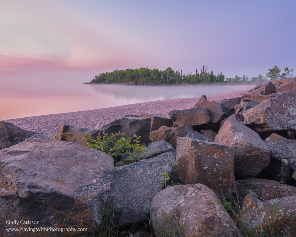 sunrise along the beach in Grand Marias - PlayingWithPhotography