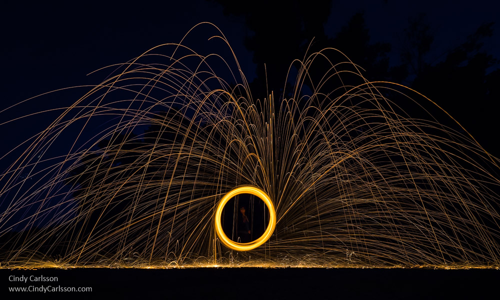 Woman in a circle of fire with sparks flying